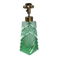 Vintage Cut Green Satin Glass Faux Jeweled Pump Atomizer Perfume Bottle