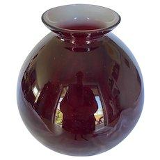 Vintage Kralik Czechoslovakian Ox Blood Cased Glass Bulbous Vase