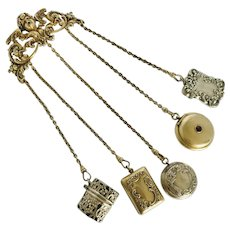 Antique American Sterling WB Kerr Chatelaine Pin and Elements