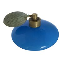 Vintage German Blue Opaline Glass Perfume Atomizer