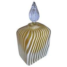 Vintage Golden Zebra Satin Cased Glass Perfume Bottle