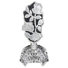 Vintage Czechoslovakian Intaglio Rose Vine Perfume Bottle