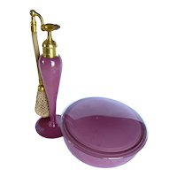Vintage DeVilbiss 1927 Art Deco Pink Powder and Perfume Atomizer Set