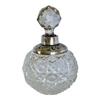 Antique 1904 Cut Glass British Sterling Collar Perfume Bottle