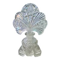 Vintage Pressed and Cut Perfume Bottle with Intaglio Cut Stopper