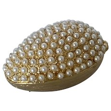 Vintage Faux Seed Pearl Gold Tone Pill Box