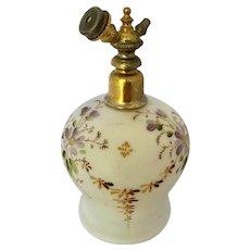 Vintage Enameled Satin Glass Perfume Atomizer