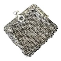 Antique French Sterling Silver Chatelaine Mesh Purse