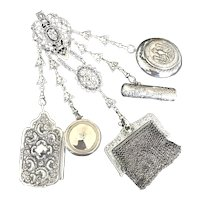 Antique European Sterling Silver Chatelaine with Aides