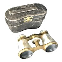 Antique Balland Paris Mother of Pearl Opera Glasses and Case