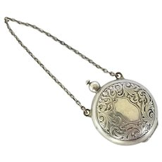 Antique American Chased Sterling Silver Chatelaine Coin Purse