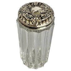 Antique Art Nouveau Crystal and Sterling Vanity Shaker Jar