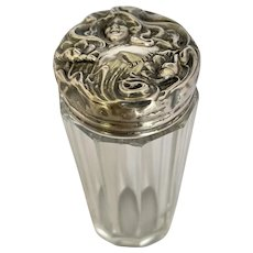 Antique Art Nouveau Sterling Silver Repousse and Crystal Vanity Shaker Jar