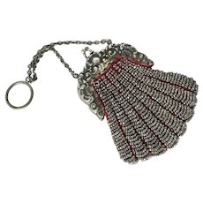 Antique Victorian German Silver Chatelaine or Finger Steel Bead Purse