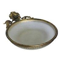 Vintage Satin Glass with Ormolu Mounts Trinket or Pin Tray