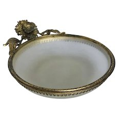 Vintage Satin Glass with Ormolu Mounts Trinket or Pin Tray