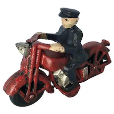 Vintage Cast Iron Motorcycle Police Officer