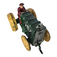 Vintage Painted Cast Iron Tractor and Driver