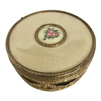 Vintage Ormolu Nested Powder Box with Guilloche Cover