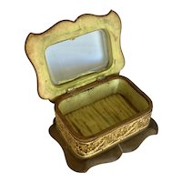 Antique Canvas, Leather, and Ormolu Footed Jewelry Casket