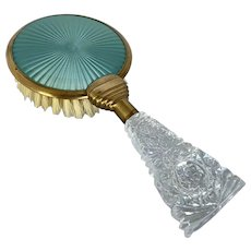 Vintage Guilloche  and Brass Natural Bristle Hair Brush