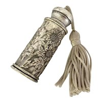 Vintage Pewter Perfume Bottle with Embossed Sunflowers