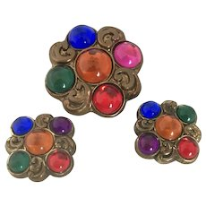 Vintage Brass and Glass Cabochon Button Covers