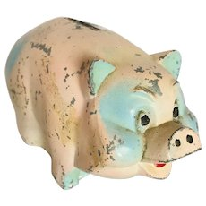 Vintage Advertising Painted Aluminum Still Piggy Bank