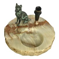 Vintage Wahl Eversharp Scottie Dog Onyx Desk Tray and Pen Holder