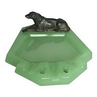 Vintage Art Deco Jadeite and Bronze Ashtray