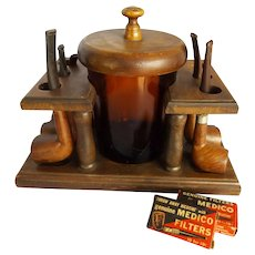 Vintage Wooden Pipe Holder and Humidor with Five Pipes