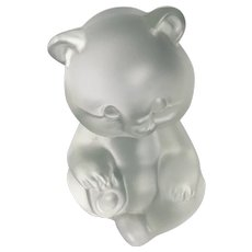 Vintage Fenton Satin Glass Teddy Bear Paperweight
