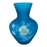 Vintage Satin Glass Vase with Hand Painted Daisies