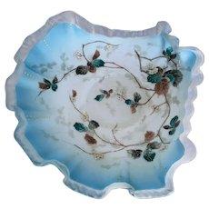Victorian Shell Shaped Enameled Milk Glass Bowl