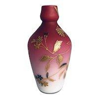 Harrach Bohemian Glass Peachblow Dragonfly Bud Vase