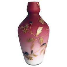 Harrach Bohemian Peachblow Dragonfly Bud Vase