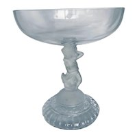 Vintage Pressed Clear Glass Compote with Frosted Glass Cherub