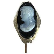Victorian Sardonyx Cameo 10k Gold Stick Pin