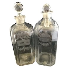 Antique Acid Etched Lead Crystal Decanter Pair