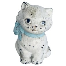Vintage Cast Iron Cold Painted Cat Still Bank