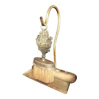 Antique Victorian Brass Nautical Crumb Set with Horsehair Brush