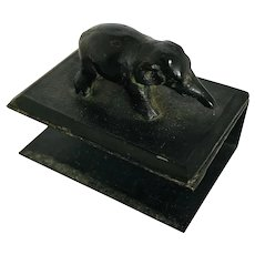 Antique Bronze Elephant Match Box Holder