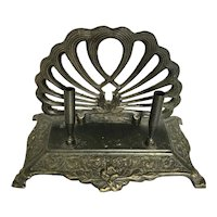 Antique Bronze and Bakelite Shell Design Pen and Mail Holder