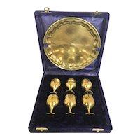 Vintage Brass Cordial Set in Velvet Case