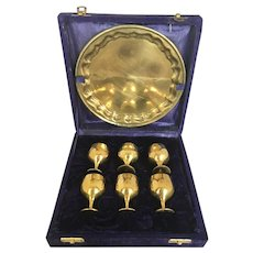 Vintage Brass Cordial Set in Velvet Case