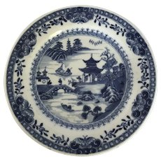 Small Kangxi Blue and White 18th Century Chinese Porcelain Plate