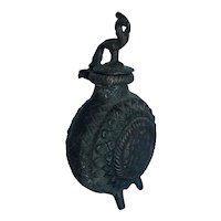 Antique Chinese Bronze Phoenix and Lotus Ink Pot