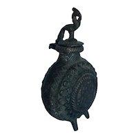 Antique Chinese Bronze Phoenix and Lotus Ink Pot