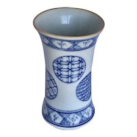 Vintage Japanese Porcelain Blue and White Brush Pot