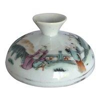 Vintage Chinese Porcelain Figural Jar Lid